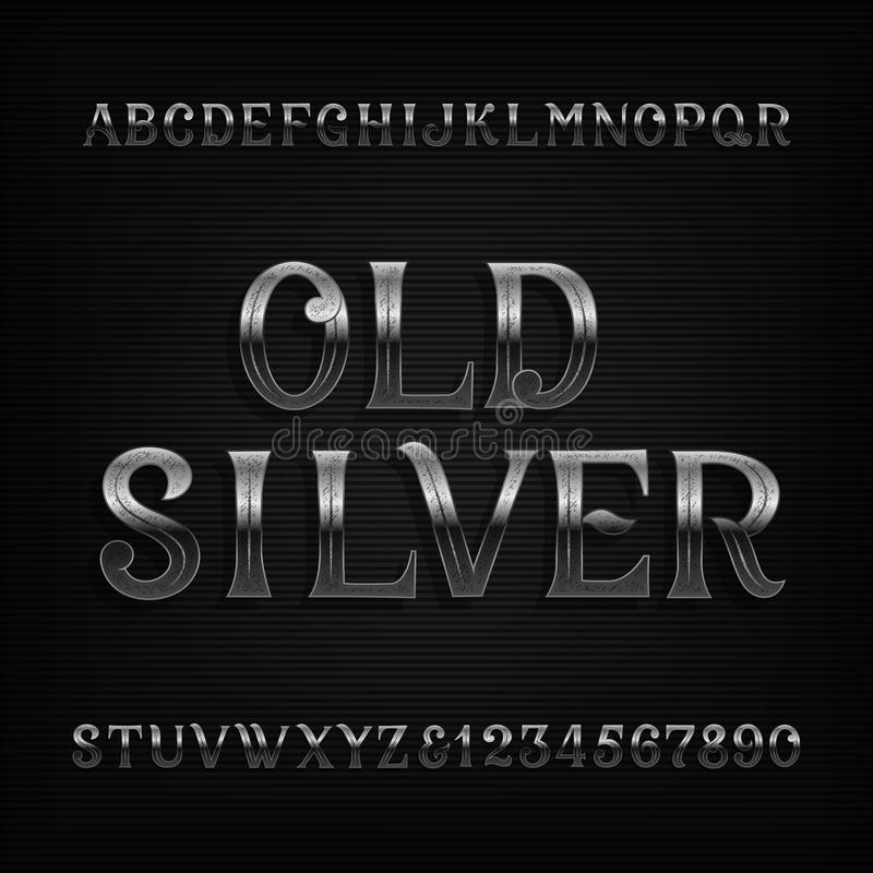 Old silver alphabet font. Vintage rusted metal letters and numbers. vector illustration
