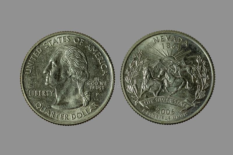 American coins. The old silver American dollar isolated on gray background.QUARTER DOLLAR stock photos