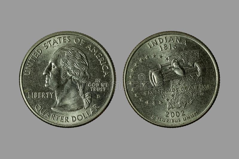 American coins. The old silver American dollar isolated on gray background.QUARTER DOLLAR stock photography