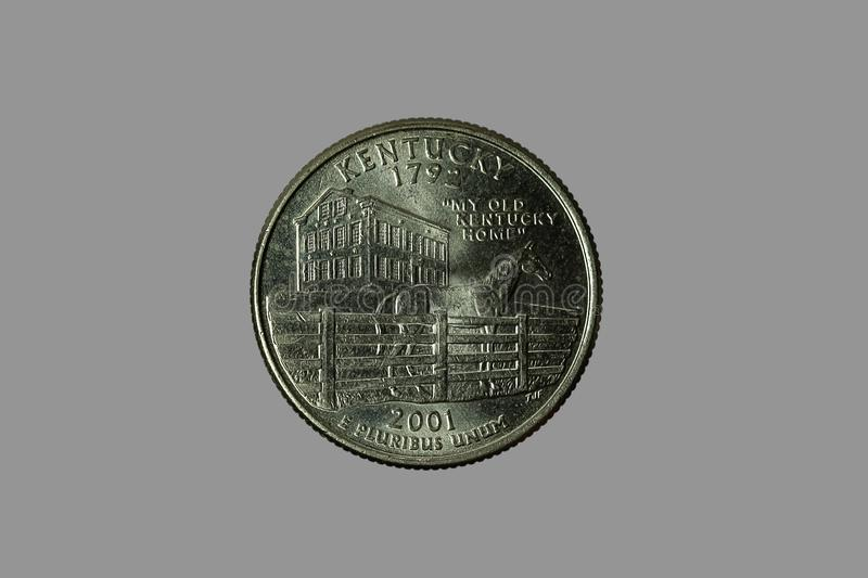 American coins. The old silver American dollar isolated on gray background.QUARTER DOLLAR stock image