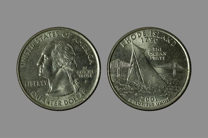 American coins. The old silver American dollar isolated on gray background.QUARTER DOLLAR stock photo