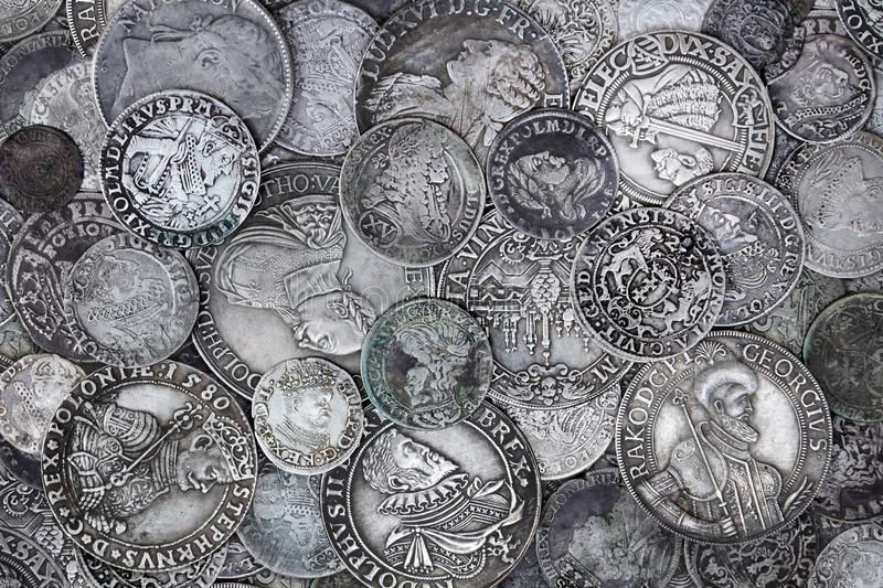 Old Silver Coins royalty free stock photos