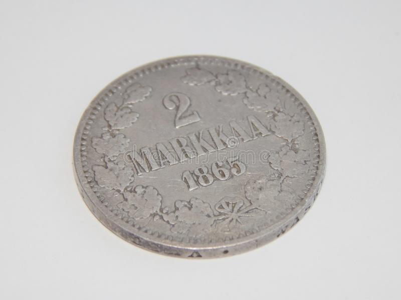 Old silver coins Finland 2 mark 1865. 2 mark 1865 old silver coins Finland royalty free stock image