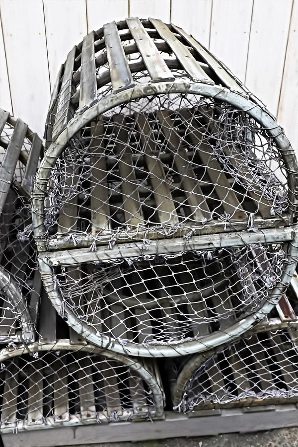 Old silver color metalic cages. For lobster and crab fishing royalty free stock images