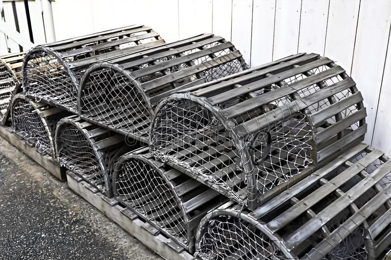 Old silver color metalic cages. For lobster and crab fishing royalty free stock photos
