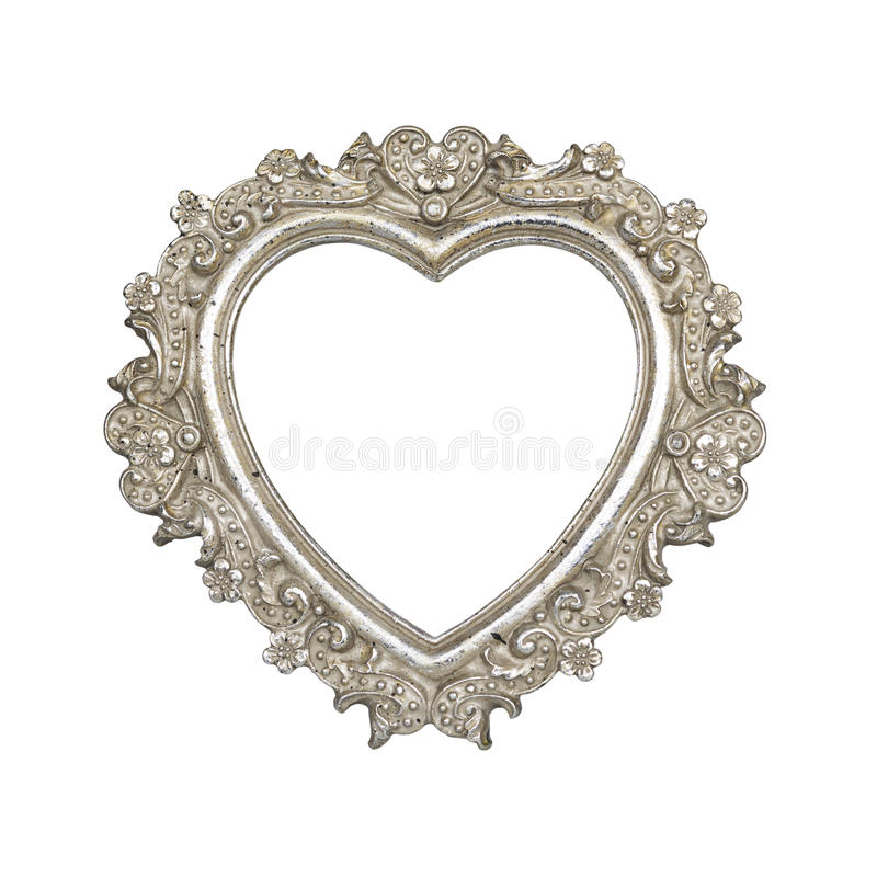 Old Silver Heart Picture Frame Stock Photo - Image of ornament ...