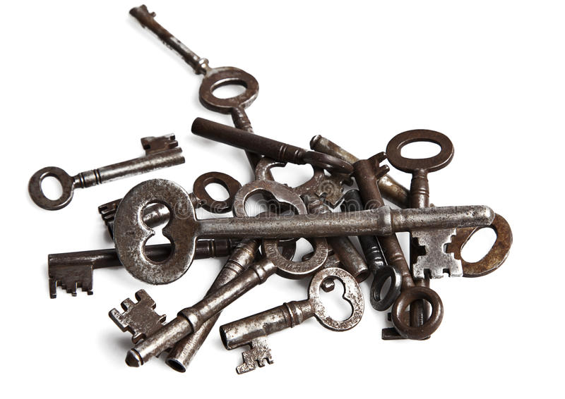Old silver keys collection stock photography