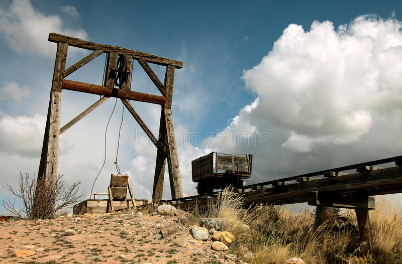 Old Silver-mine. Old closed silver-mine, mining rail-road, mining-wagon royalty free stock image