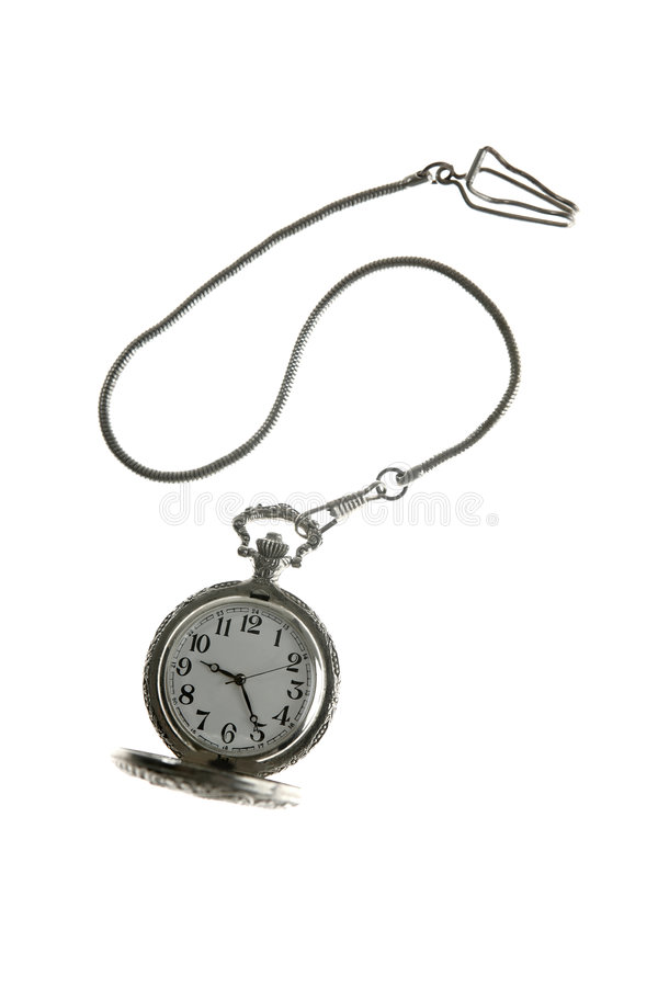 Download Old Silver Pocket Watch Clock With Chain Stock Photo - Image of macro, closeup: 8413248