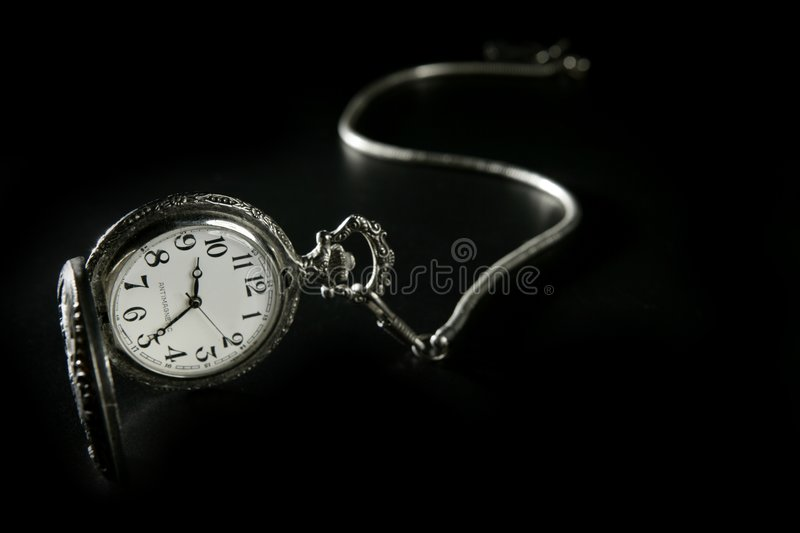 Download Old Silver Pocket Watch Clock With Chain Stock Image - Image: 9096661