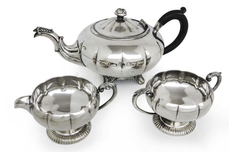 Old silver tea set stock photography