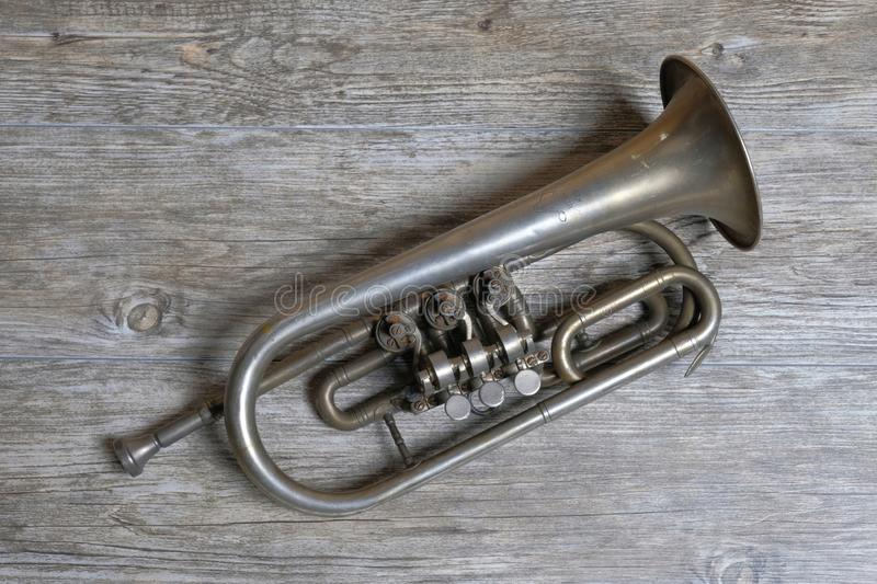 Old silver trumpet royalty free stock photo