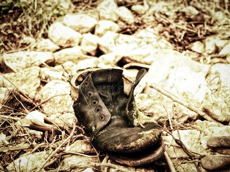 Download Old single boot (16) stock photo. Image of boots, black - 39032850