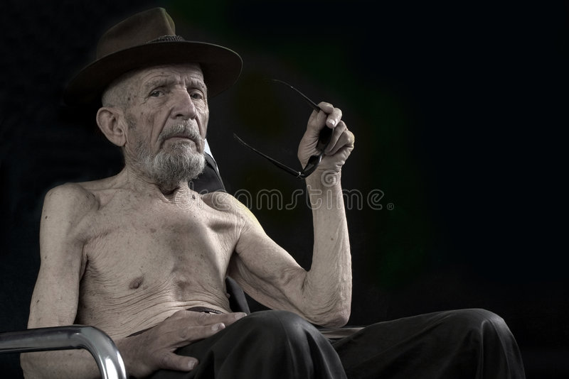 Old is sitting stock images