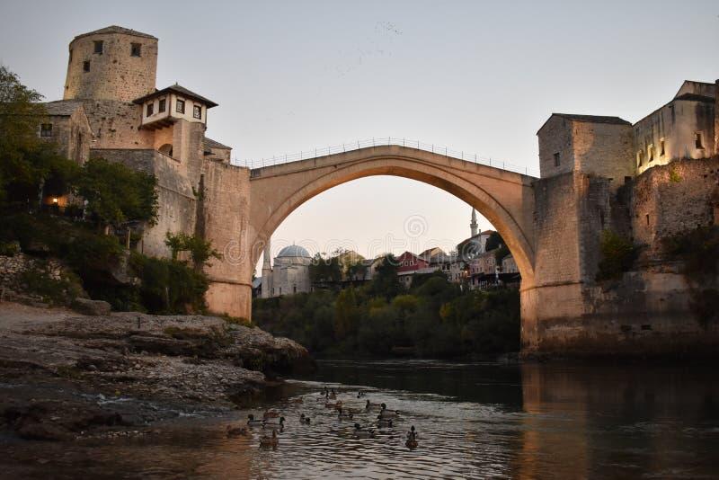 The old sixteenth century ottoman bridge in Mostar. Bosnia and Herzegovina,UNESCO world heritage royalty free stock photography