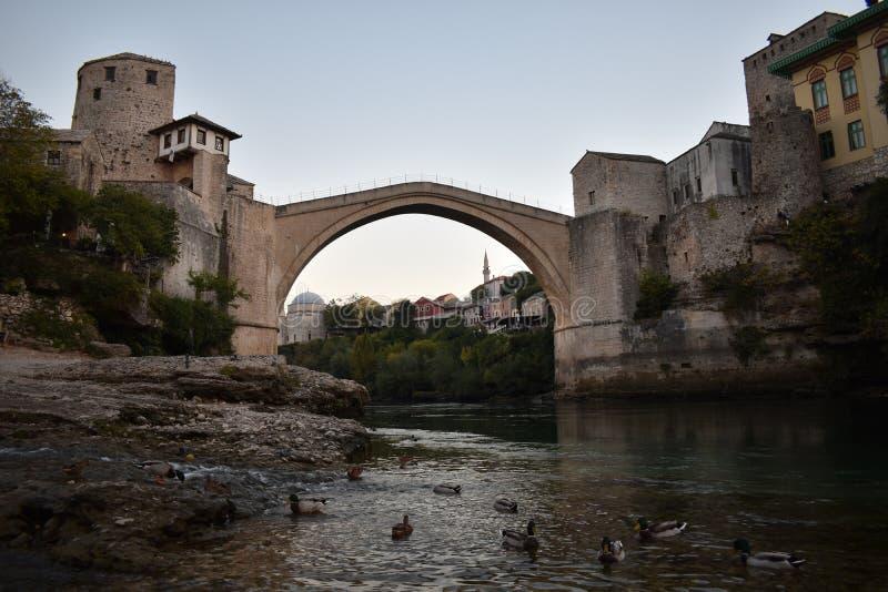 The old sixteenth century ottoman bridge in Mostar. Bosnia and Herzegovina,UNESCO world heritage stock photos