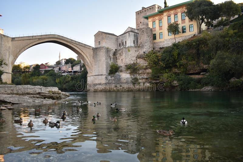 The old sixteenth century ottoman bridge in Mostar. Bosnia and Herzegovina,UNESCO world heritage stock image