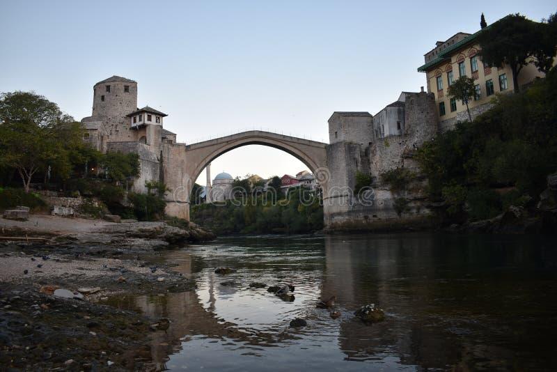 The old sixteenth century ottoman bridge in Mostar. Bosnia and Herzegovina,UNESCO world heritage stock photo