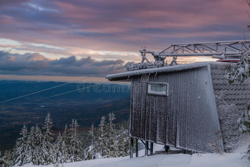 Old Ski lift. Before season high in the Karkonosze mountains at the morning royalty free stock image