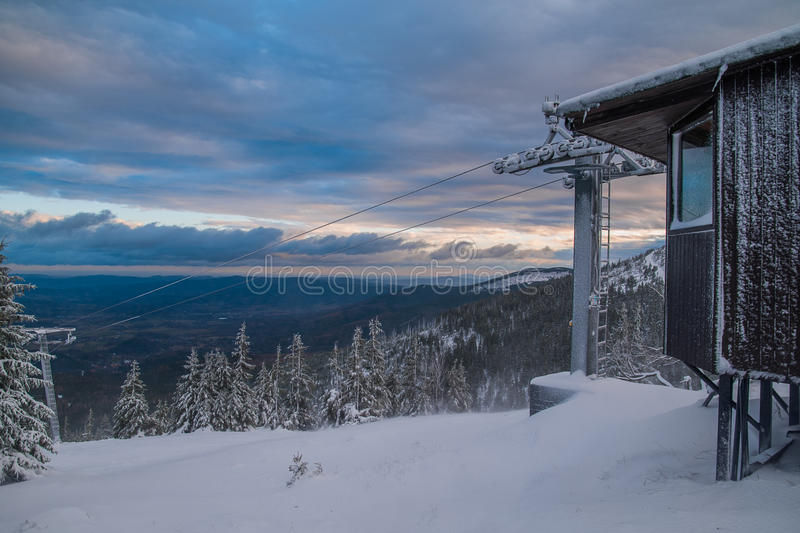 Old Ski lift. Before season high in the Karkonosze mountains at the morning stock images