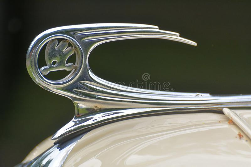 Old Skoda car logo. Hood ornament from old Skoda car royalty free stock photos