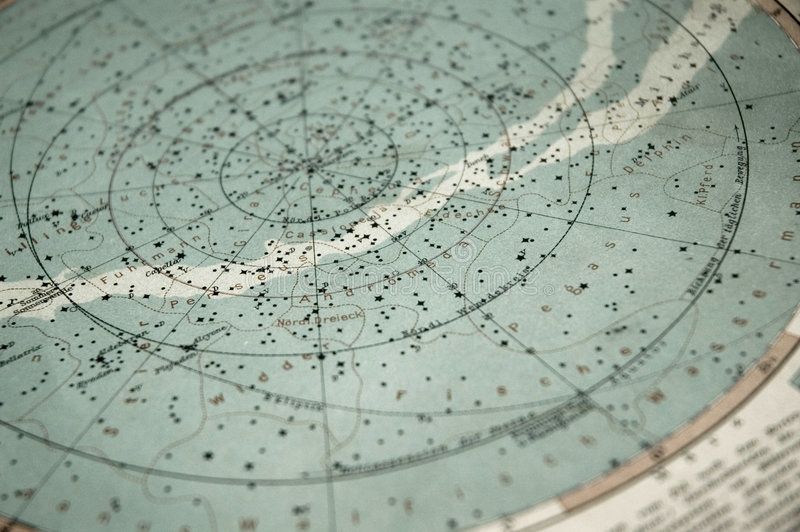 Old sky map (from 1891 year) stock image
