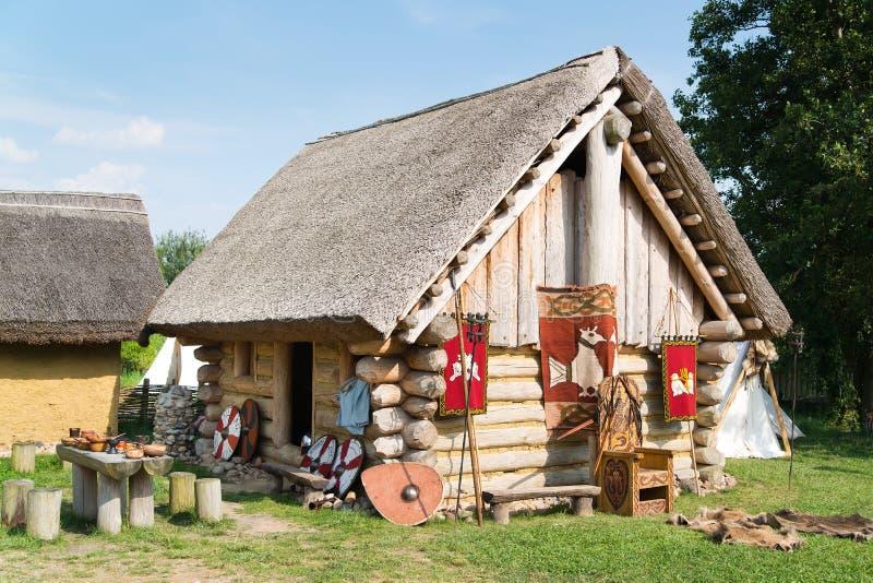 Old slavic village in Poland stock image