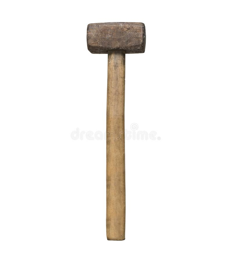 Old sledgehammer in a man`s hand. White background. Isolated.  royalty free stock image