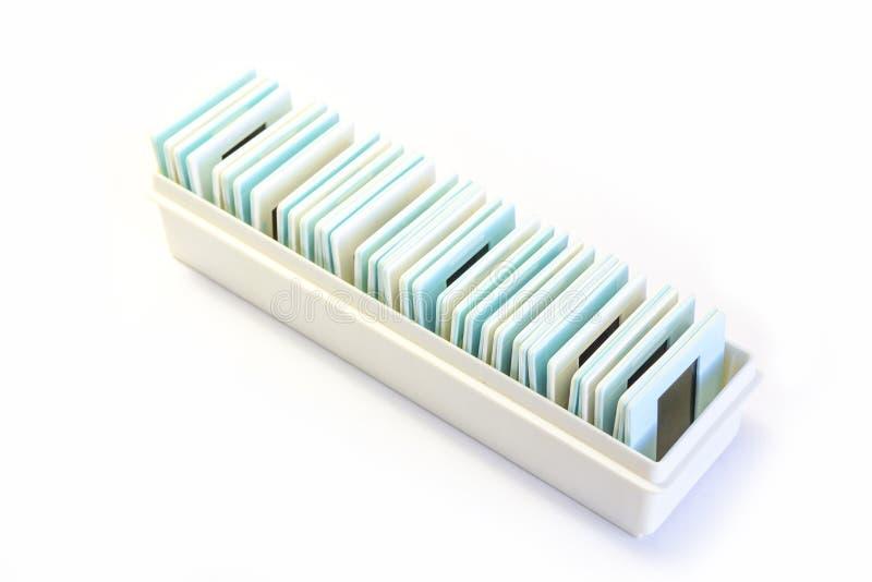 Old slides in plastic framework stock photo