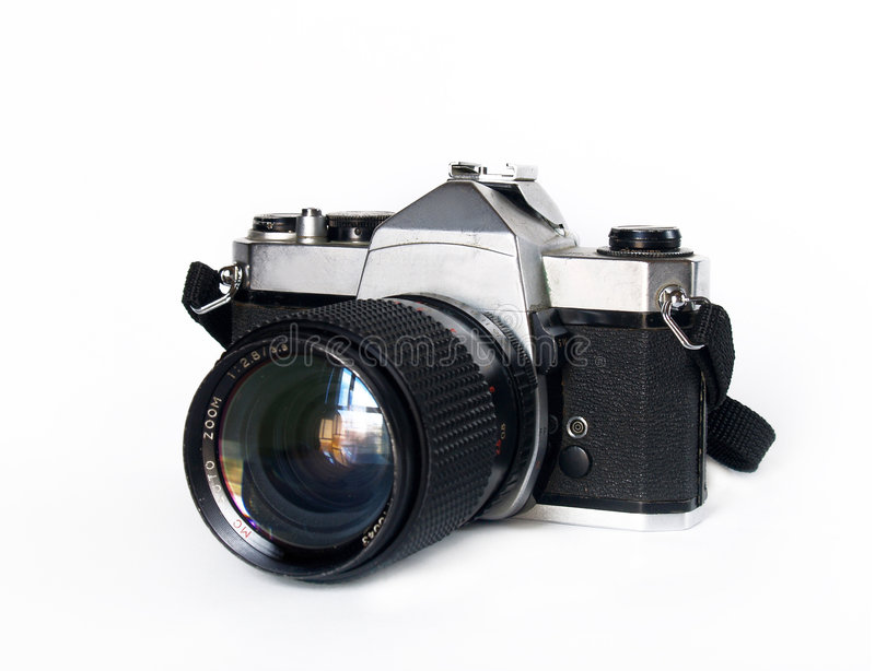 Old slr camera. Over white stock photos