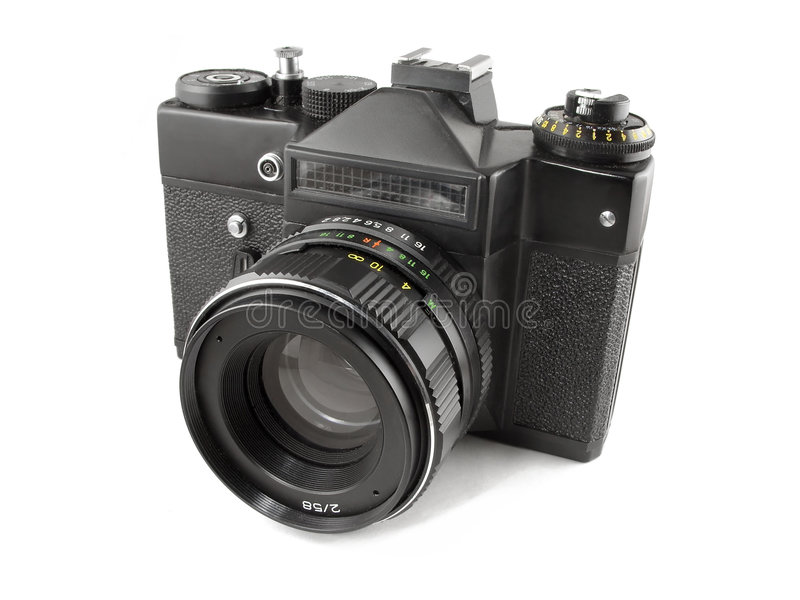 Old SLR camera stock photo
