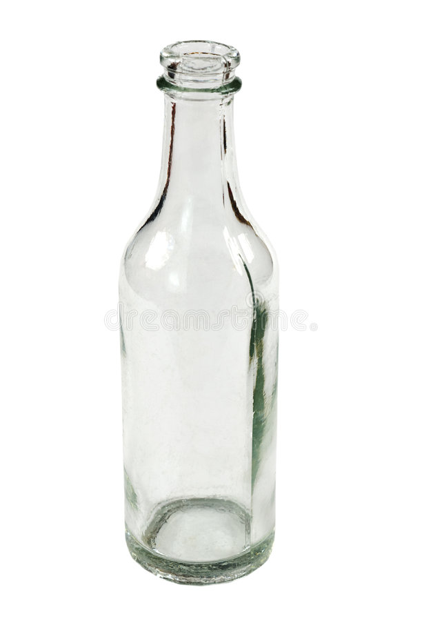 Old small bottle. Small old bottle on the white background royalty free stock photo
