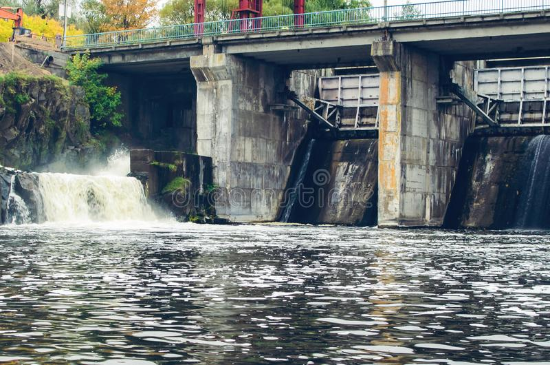 An old small dam with one open gateway.  royalty free stock photos