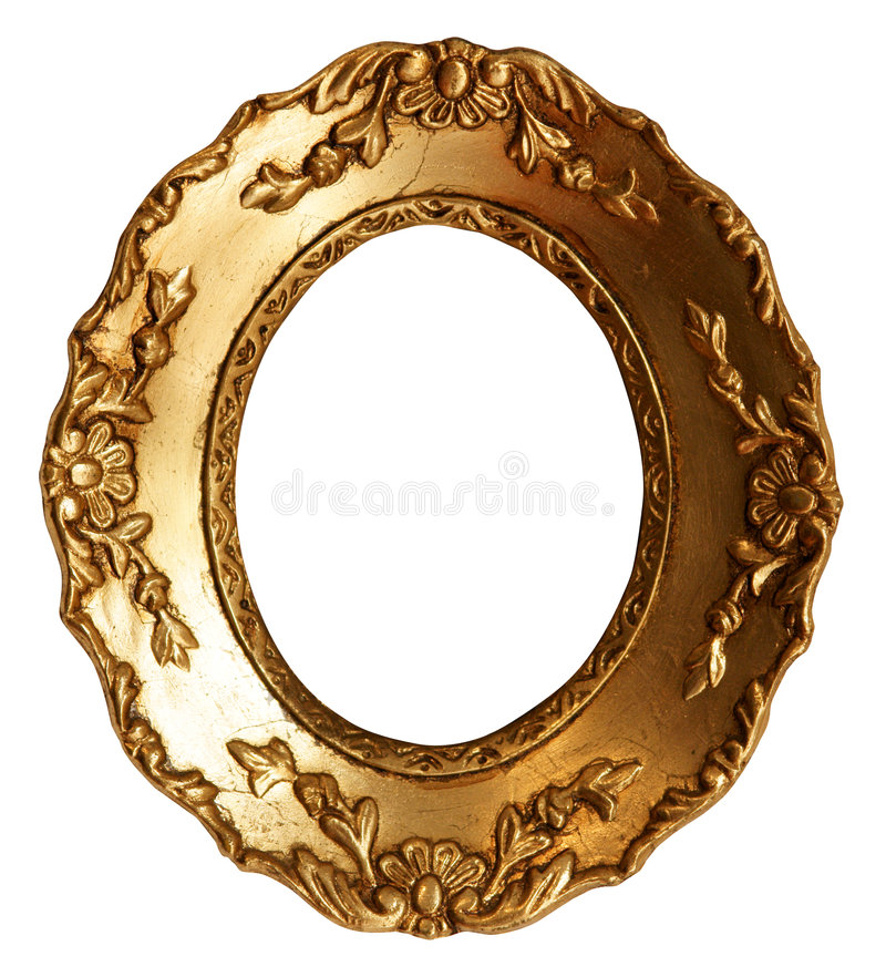 Old Small Gold Wood Mirror Frame with Ornaments. Baroque Oval Small Gold Mirror / Picture Frame with Ornaments to put your owns pictures on it. File contains stock images