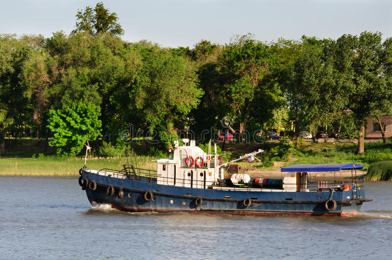 Old small ship. On Don river in Rostov on Don stock photography