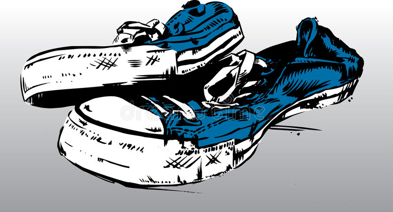 Old Sneakers / Trainers royalty free illustration