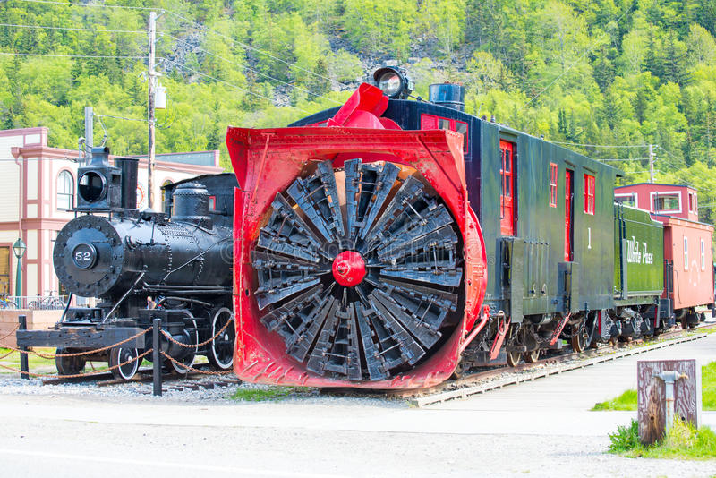 Old snow blower train at Skagway, Alaska royalty free stock photo