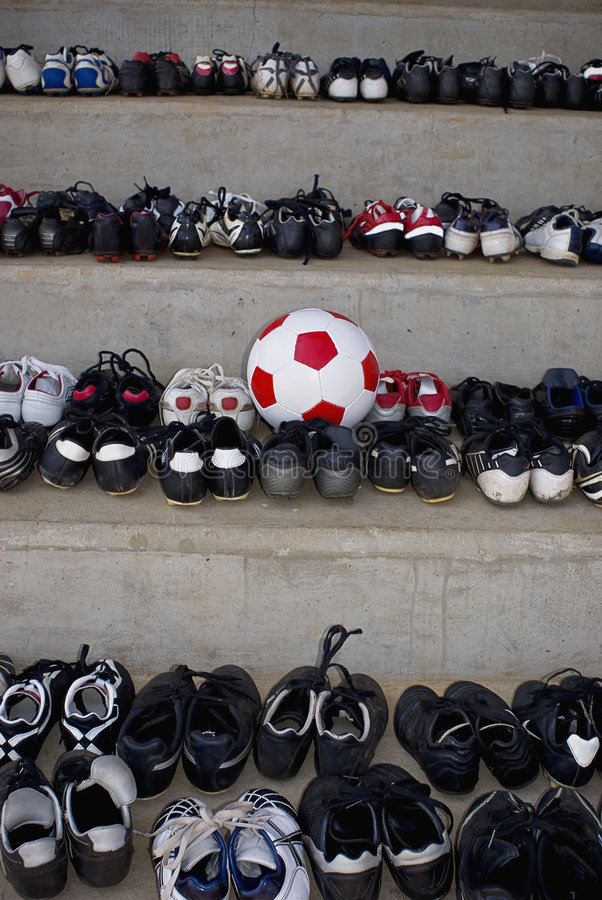 Free Old Soccer Boots & Match Ball Stock Photography - 6568982