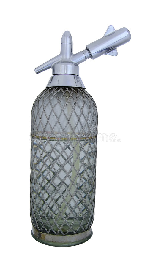 Old Soda siphon by pervaded water. Old Soda siphon was made with glass and metal stock photography