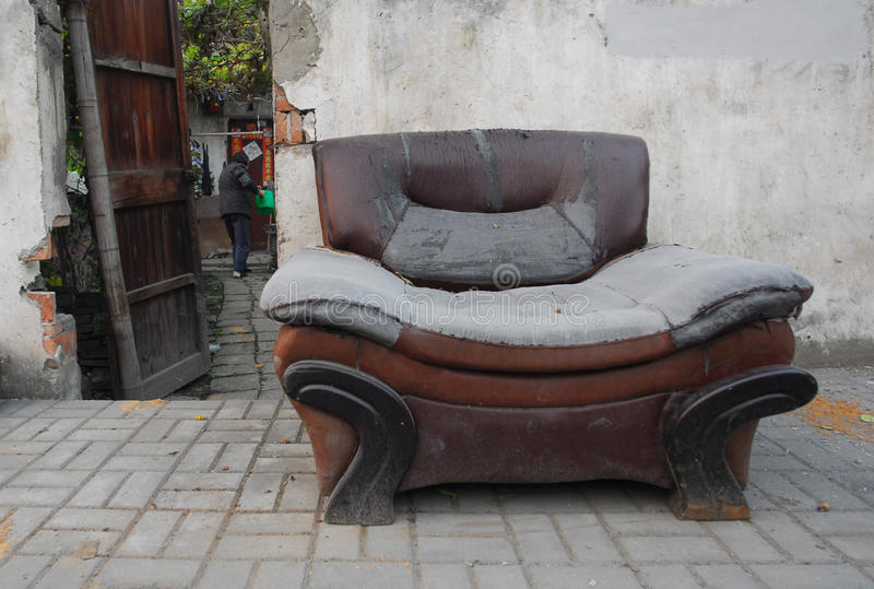 Old sofa couch. At China house stock photo