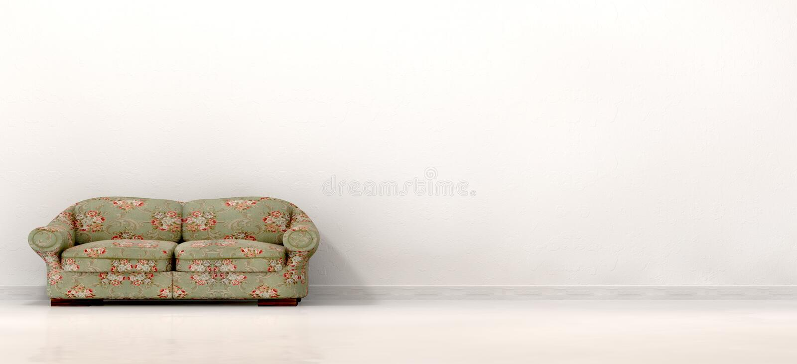Old Sofa In Empty White Room Stock Image Image of skirting