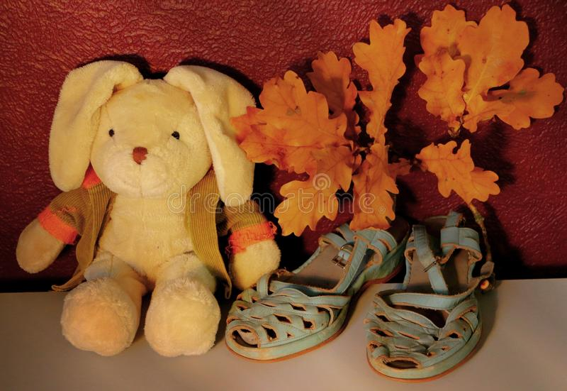 Old stuffed rabbit plush toy sitting next to a pair of pale pastel blue sandals and a branch of autumn leaves royalty free stock photography