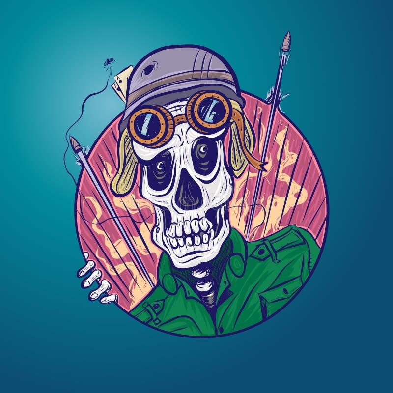 Old soldier`s skull royalty free illustration