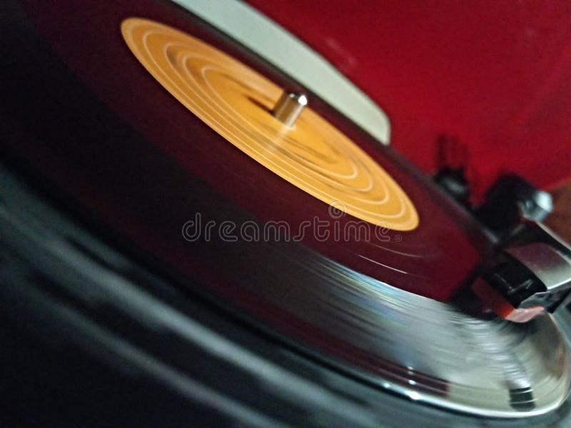 Old song analog. Old gramophone song, analog retro vintage stock photo