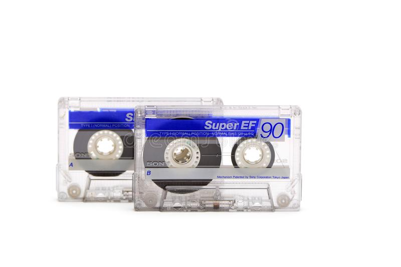 Old Sony audio cassette stock photography