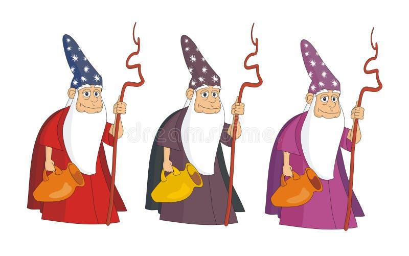 Old sorcerer mag with goblet vector cartoon