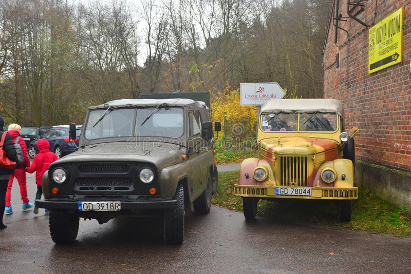 Old Soviet Army Gaz And Uaz Cars On A Parade Editorial