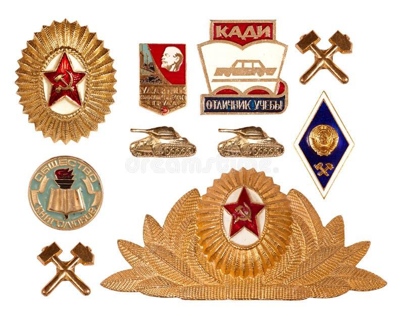 Old soviet badges stock image