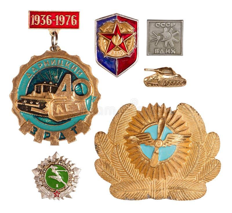 Old soviet badges stock photo