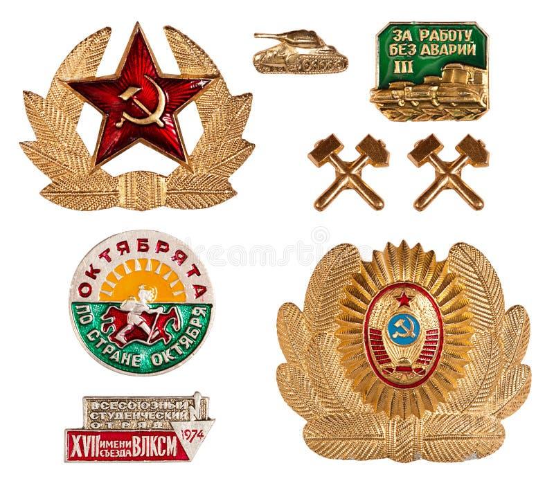 Old soviet badges royalty free stock photo
